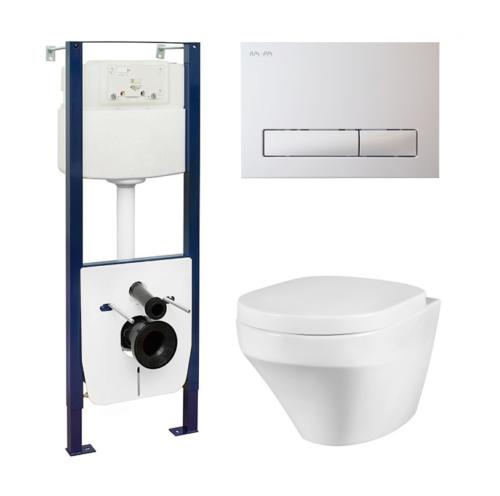 I012702/I014101/C501700SC Комплект: инсталл с клав бел с подвесным унитазом Inspire FlashClean с сид