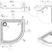 W80T-301-090W Like Twin Slide,  акриловый поддон с сифоном для душевого ограждения, 90x90, белый ак