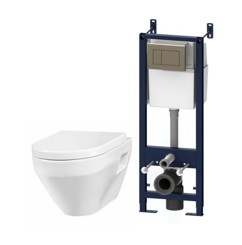 IS3701738 Комплект инсталляция с клав глянц хром с подвесным унитазом Spirit с сид-ем м/лифт