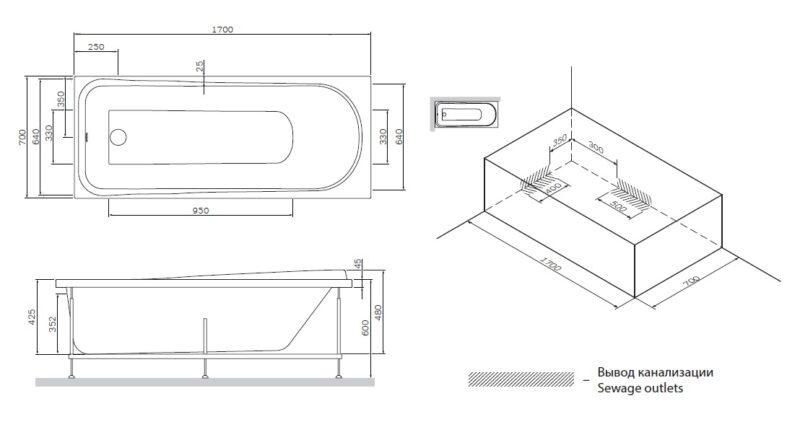 W80A-170-070W-R Like, каркас для ванны A0 170х70 см, шт