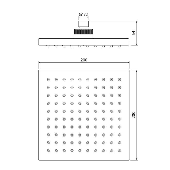 Душевая насадка верхняя квадратная, IDDIS, 00220SPi64