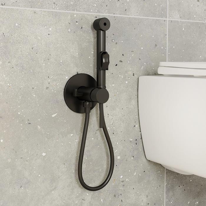 Встраиваемый смеситель с гигиеническим душем, матовый черный, IDDIS, 003BLR0i08