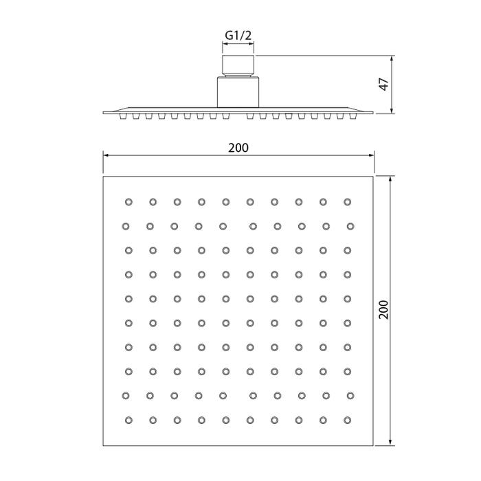 Душевая насадка верхняя квадратная, IDDIS, 00520SSi64