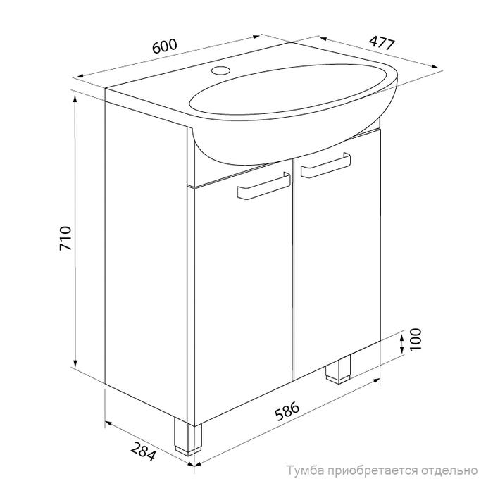 Умывальник мебельный, 60 см, 005, IDDIS, 0056000i28