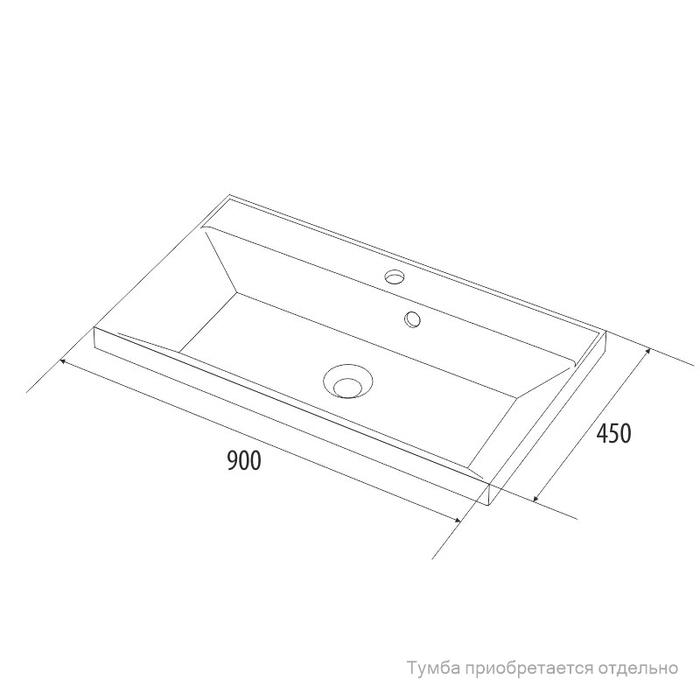 Умывальник мебельный, 90 см, 006, IDDIS, 0069000i28