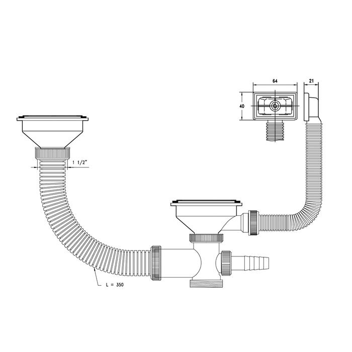 Выпуск 3 1/2 для двойной чаши с переливом и отводом, 021, IDDIS, 021UPS0i84