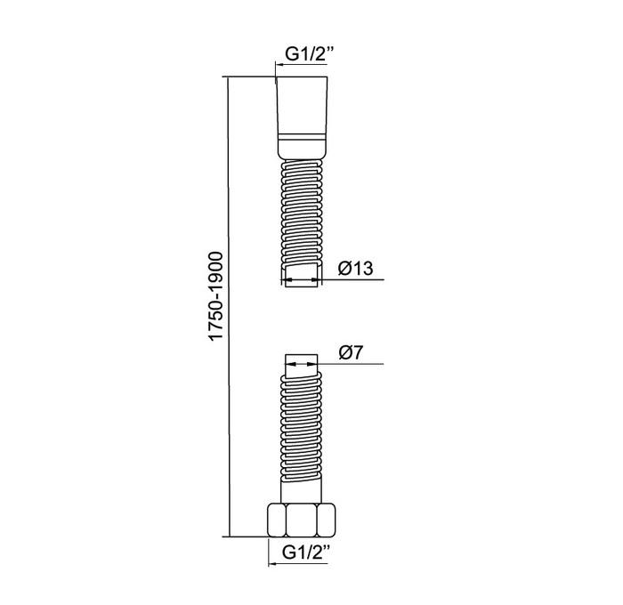 Шланг для душа, нержавеющая сталь, растягивающийся, 175-190 см, 023, IDDIS, 023S17Si19