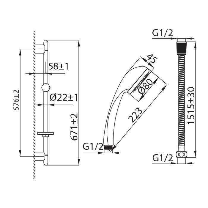 Душевой гарнитур (лейка 1F D 80мм, стойка 67 см, мыльница, шланг 1,5м), 100, Milardo, 1001F67M16