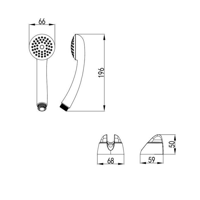 Душевой гарнитур с держателем, эконом, 330, Milardo, 3301F68M16