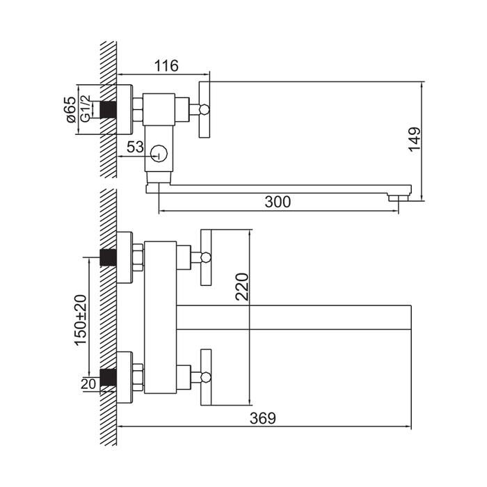 Смеситель для ванны, 37102T7T12K, Natal, шланг, лейка, дер-ль, дл.излив
