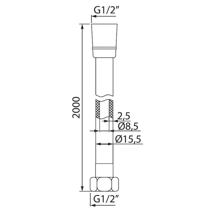 A5061120 Шланг д/душа, ПВХ армиров., 2.0м