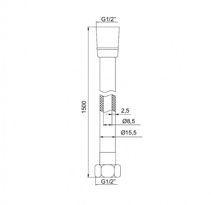 A5071115 Шланг д/душа, ПВХ усилен., 1.5м