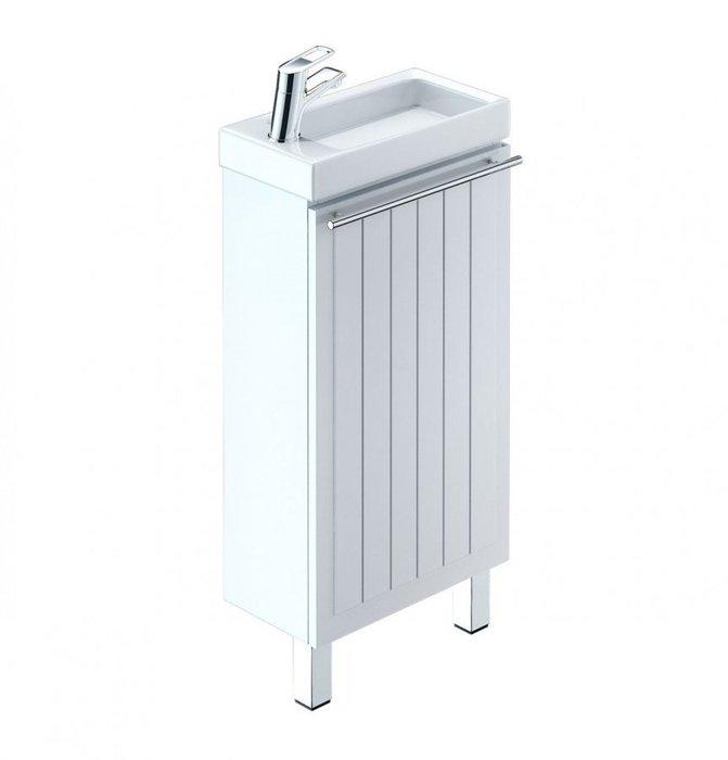 Тумба с умывальником для ванной комнаты, напольная, белая, 40 см, Amur, Milardo, AMU40W1M95K