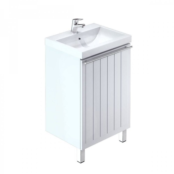 Тумба с умывальником для ванной комнаты, напольная, белая, 50 см, Amur, Milardo, AMU50W1M95K