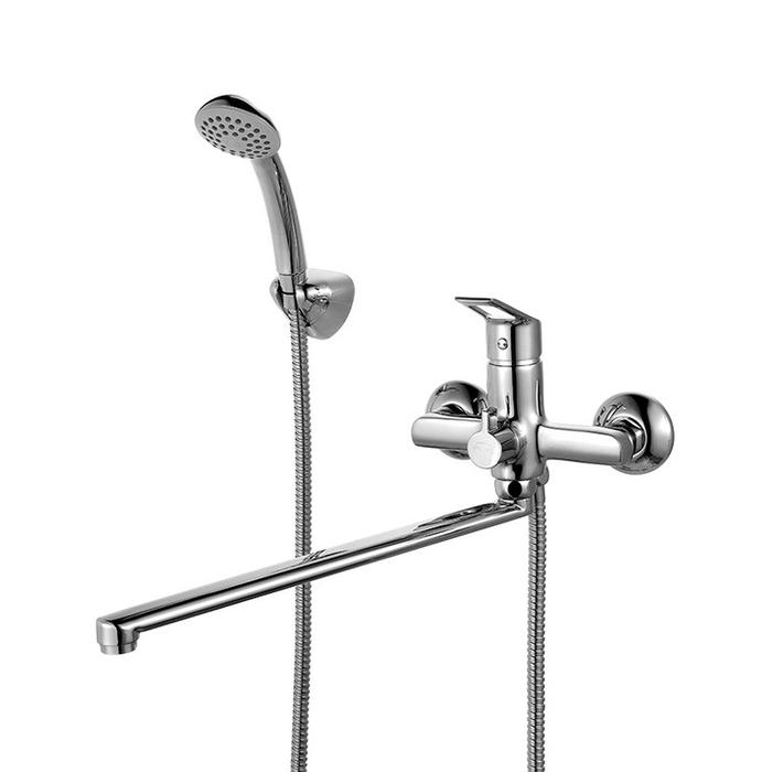 Смеситель для ванны с длинным изливом с керамическим дивертором,  Amur, Milardo, AMUSBLCM10
