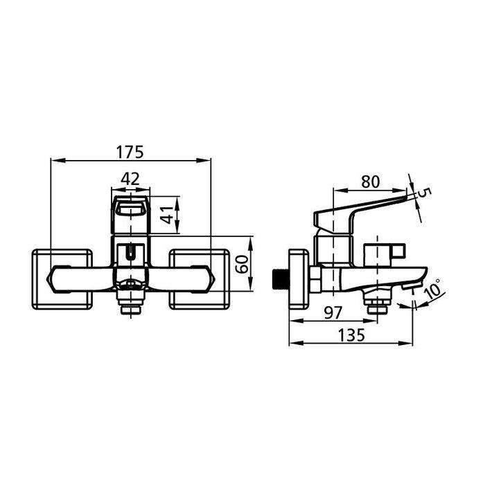 Смеситель для ванны с керамическим дивертором, Atlantic, Milardo, ATLSBC0M02