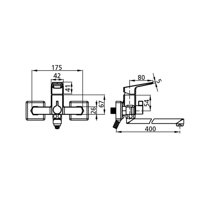 Смеситель для ванны с длинным изливом  с керамическим дивертором, Atlantic, Milardo, ATLSBLCM10