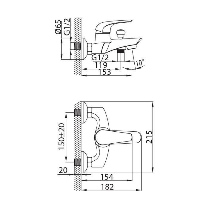 BA23209CK MI,Смеситель для ванны,Baffin,комплектный
