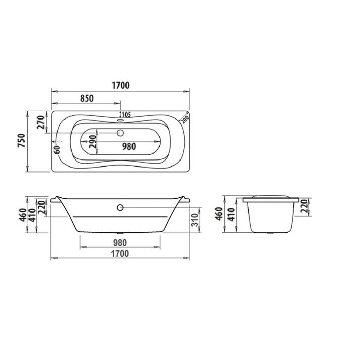 Ванна акриловая, 170х75 см, Calipso, IDDIS, CAL1775i91