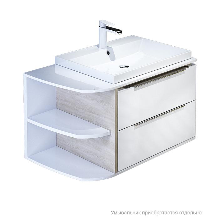 Тумба для ванной комнаты, подвесная, белая/под дерево, 80 см, Calipso, IDDIS, CAL80W0i95. Подходит умывальник 0066000i28