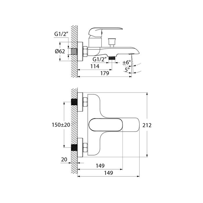 Смеситель для ванны, белый/хром, Calipso, IDDIS, CALSB00i02