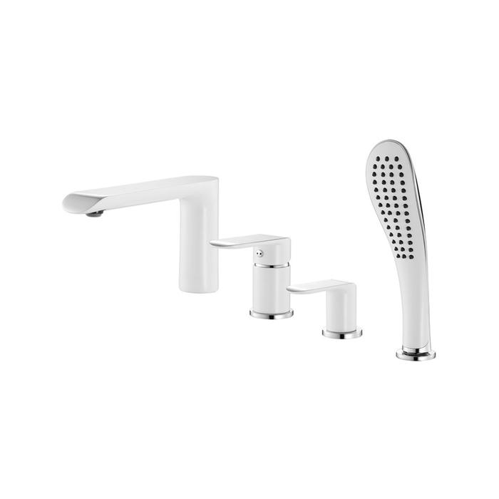 Смеситель для ванны на 4 отверстия, белый/хром, Calipso, IDDIS, CALSB42i07