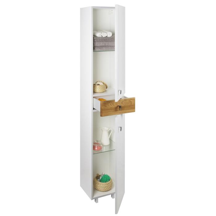 Пенал для ванной комнаты, напольный, белый/дерево, 36 см, Carlow, IDDIS, CAR3600i97