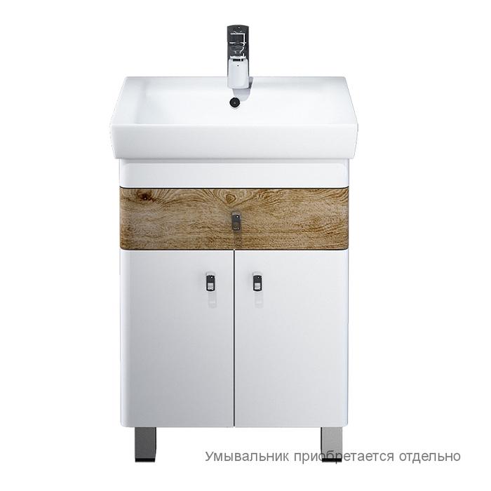 Тумба для ванной комнаты, напольная, белая/под дерево, 55 см, Carlow, IDDIS, CAR55W2i95. Подходит умывальник 0045500i28