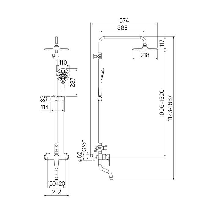 Смеситель для ванны с верхним душем, хром/белый, Cloud, IDDIS, CLOSB00i06