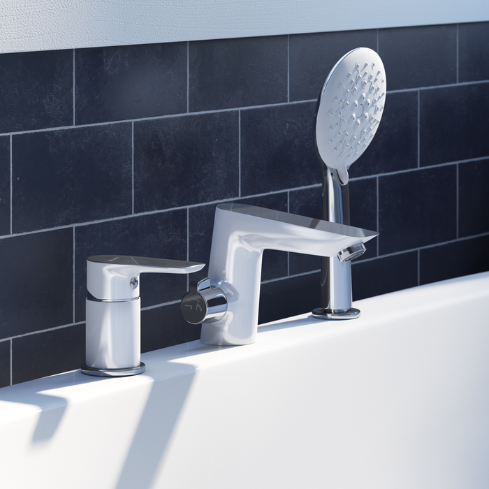 Смеситель на борт ванны на 3 отверстия с керамическим дивертором, Cloud, IDDIS, CLOSB30i07