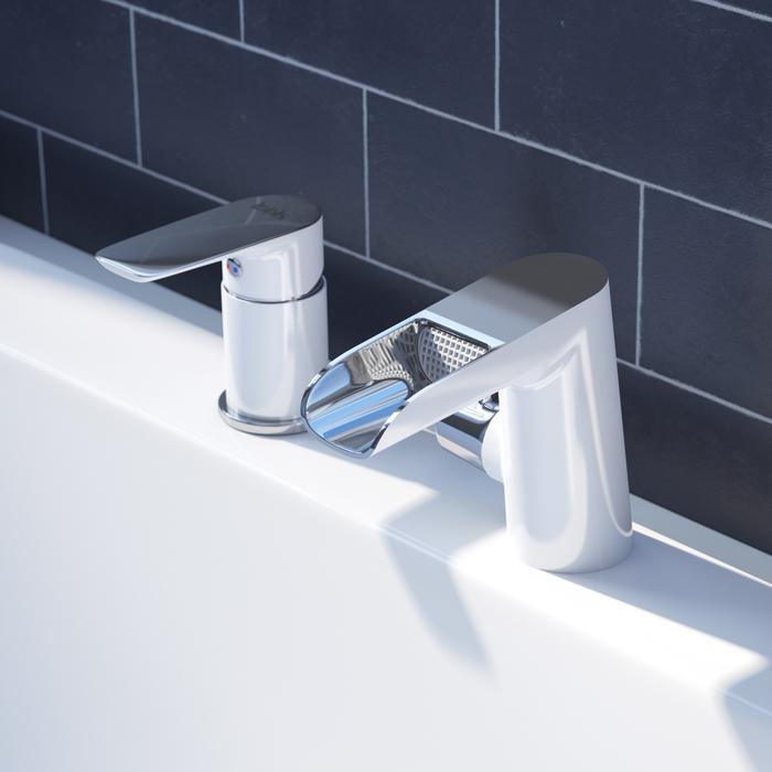 Смеситель на борт ванны на 3 отверстия с керамическим дивертором, каскадный излив, Cloud, IDDIS, CLOSB3Ki07