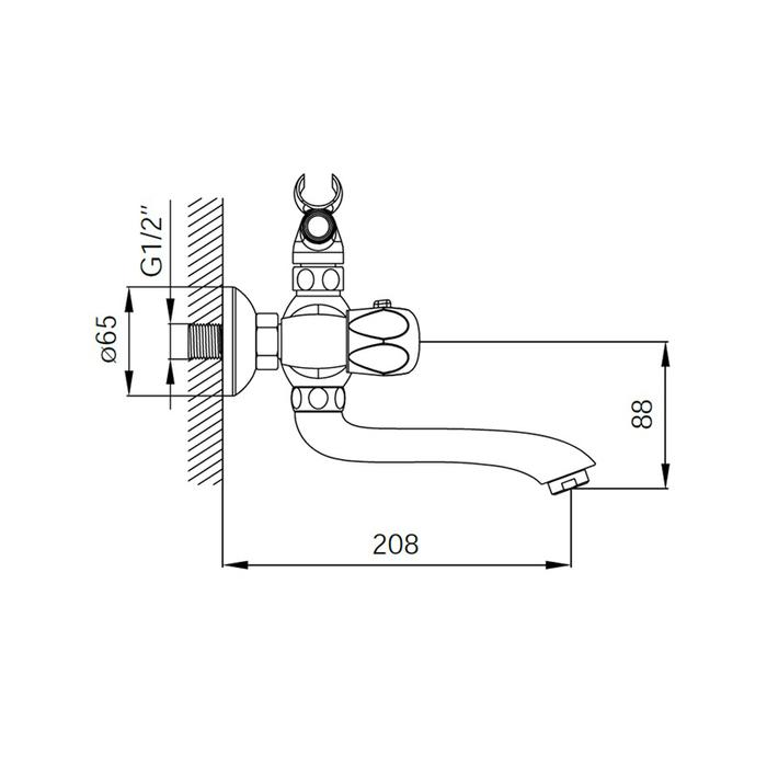 Смеситель для ванны с керамическим дивертором, Classic Plus, IDDIS, CLPSB02i02