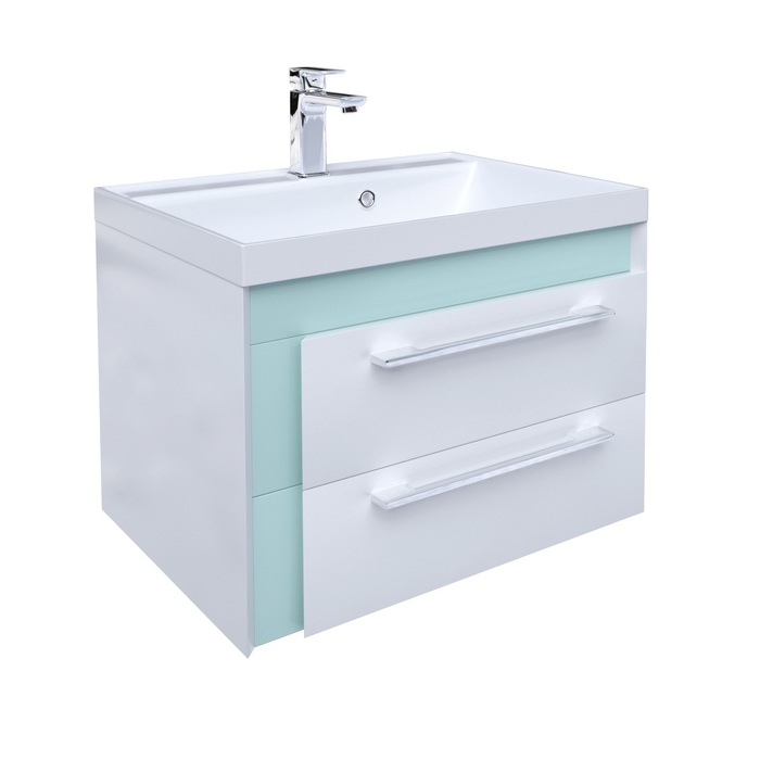 Тумба с умывальником для ванной комнаты, подвесная, белая/мятная, 60 см, Color Plus, IDDIS, COL60M0i95K