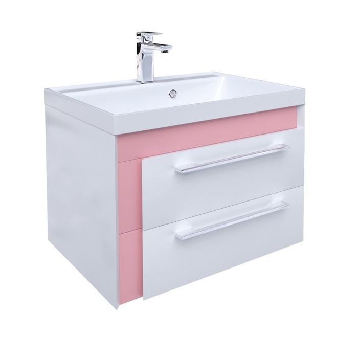 Тумба с умывальником для ванной комнаты, подвесная, белая/розовая, 60 см, Color Plus, IDDIS, COL60P0i95K
