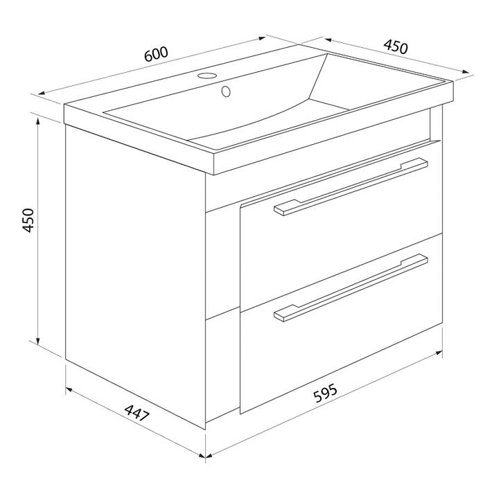 Тумба с умывальником для ванной комнаты, подвесная, белая/под дерево, 60 см, Color Plus, IDDIS, COL60W0i95K