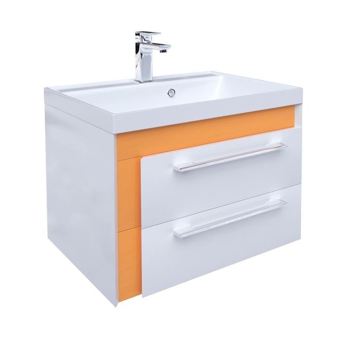 Тумба с умывальником для ванной комнаты, подвесная, белая/горчичная, 60 см, Color Plus, IDDIS, COL60Y0i95K