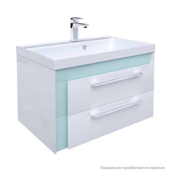 Тумба для ванной комнаты, подвесная, белая/мятная, 70 см, Color Plus, IDDIS, COL70M0i95. Подходит умывальник 0067000i28