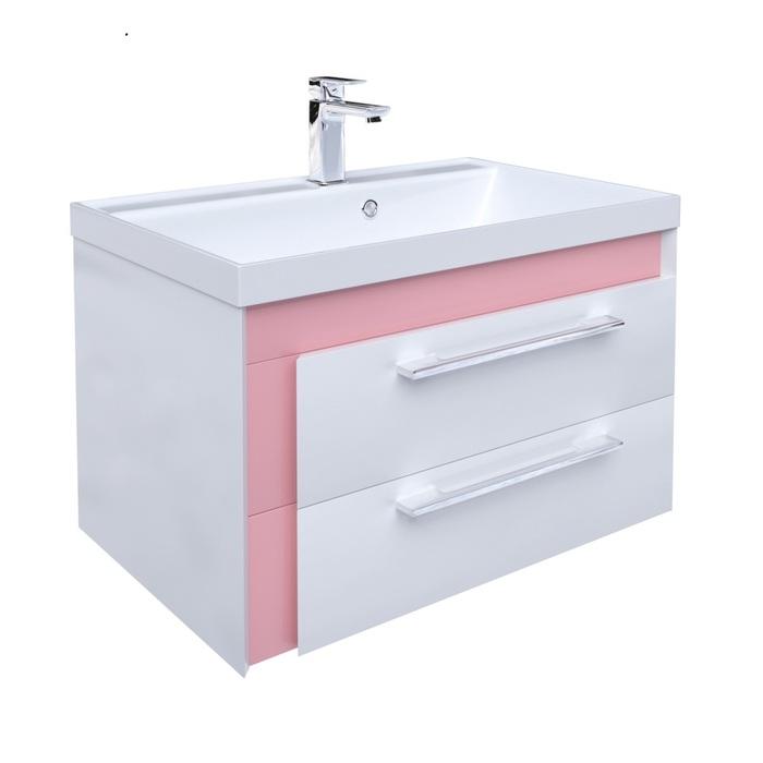 Тумба с умывальником для ванной комнаты, подвесная, белая/розовая, 70 см, Color Plus, IDDIS, COL70P0i95K