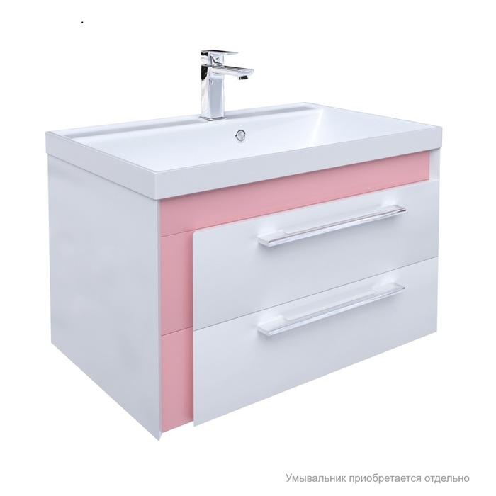 Тумба для ванной комнаты, подвесная, белая/розовая, 70 см, Color Plus, IDDIS, COL70P0i95. Подходит умывальник 0067000i28