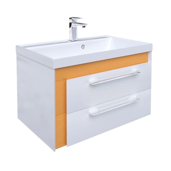 Тумба с умывальником для ванной комнаты, подвесная, белая/горчичная, 70 см, Color Plus, IDDIS, COL70Y0i95K