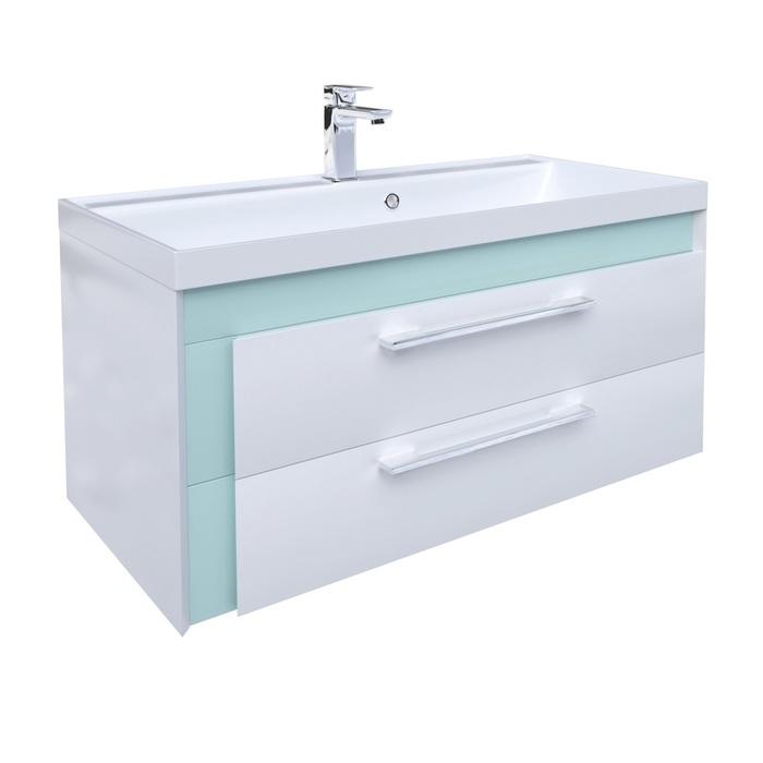 Тумба с умывальником для ванной комнаты, подвесная, белая/мятная, 90 см, Color Plus, IDDIS, COL90M0i95K
