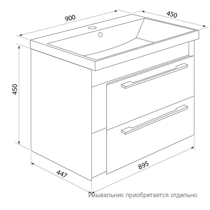 Тумба для ванной комнаты, подвесная, белая/мятная, 90 см, Color Plus, IDDIS, COL90M0i95. Подходит умывальник 0069000i28