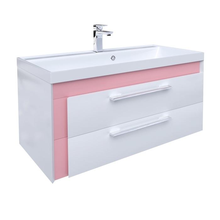 Тумба с умывальником для ванной комнаты, подвесная, белая/розовая, 90 см, Color Plus, IDDIS, COL90P0i95K