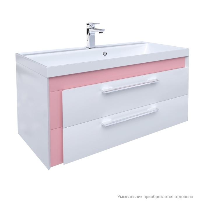 Тумба для ванной комнаты, подвесная, белая/розовая, 90 см, Color Plus, IDDIS, COL90P0i95. Подходит умывальник 0069000i28