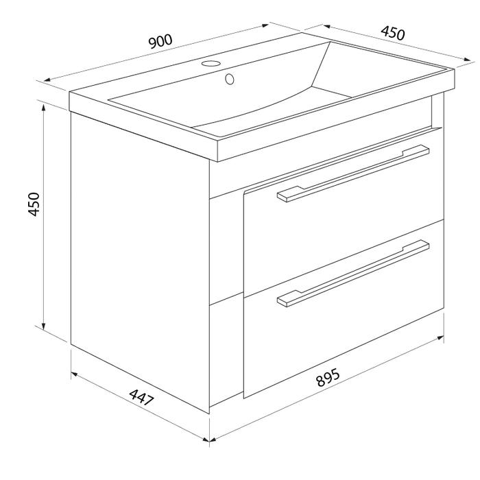 Тумба с умывальником для ванной комнаты, подвесная, белая/горчичная, 90 см, Color Plus, IDDIS, COL90Y0i95K
