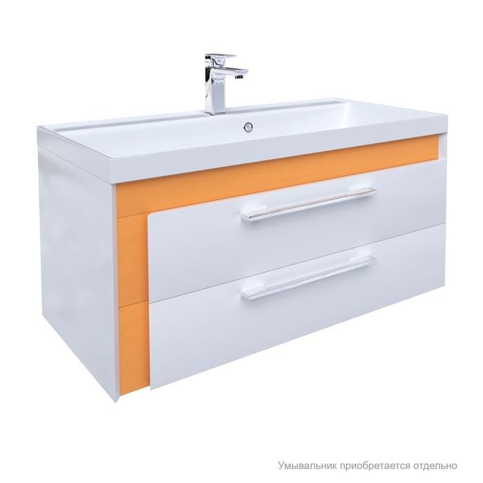 Тумба для ванной комнаты, подвесная, белая/горчичная, 90 см, Color Plus, IDDIS, COL90Y0i95. Подходит умывальник 0069000i28