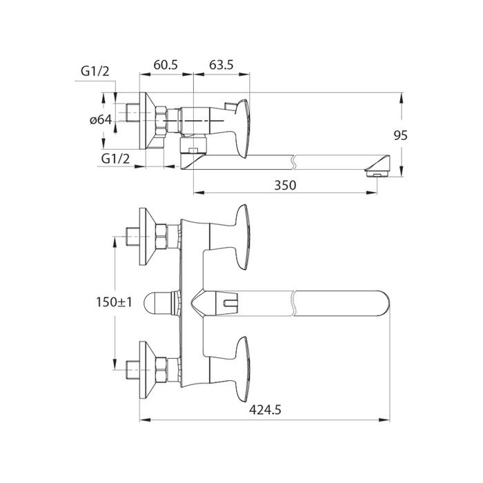 Смеситель для ванны с длинным изливом с керамическим дивертором Copter, IDDIS, COPSBL2i10WA