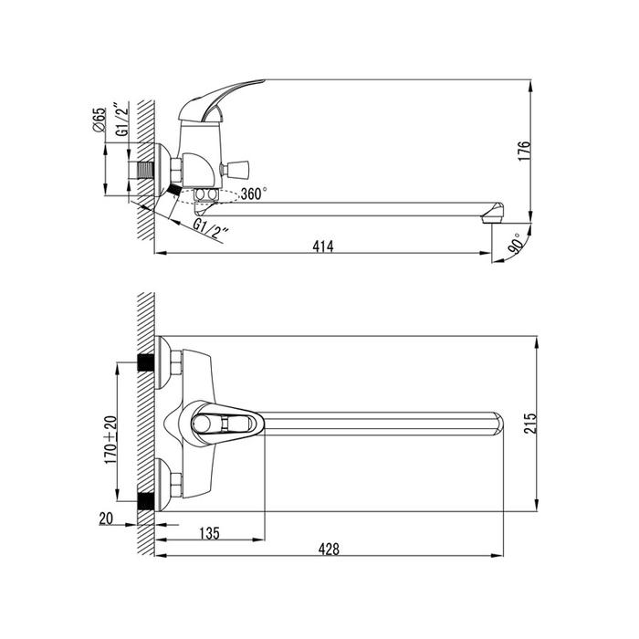 Смеситель для Ванны, CQ23X19CK+Z06, Carlow, комплектный, дл.изл.