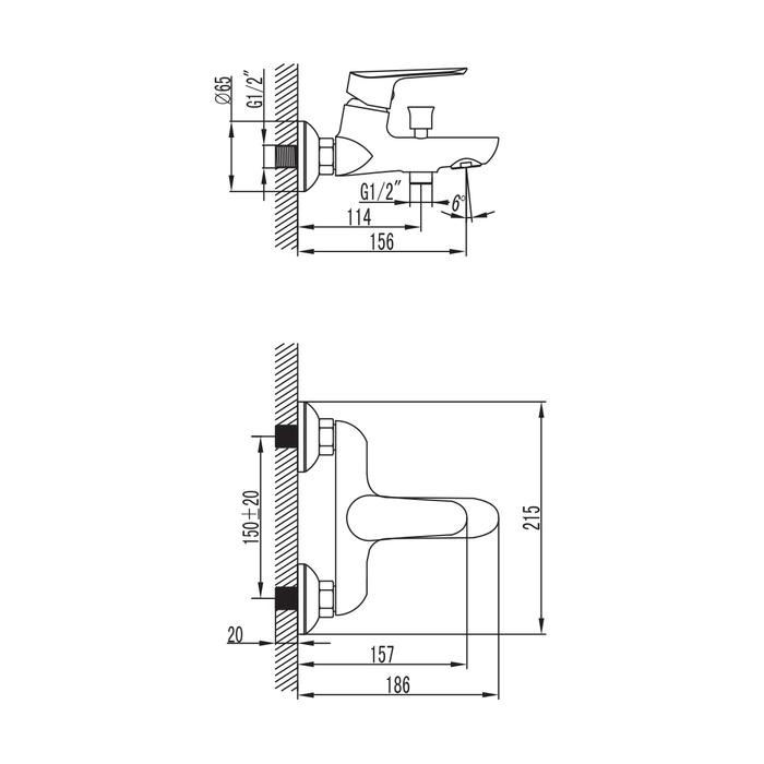 Смеситель для ванны, Custo, IDDIS, CUSSB00i02
