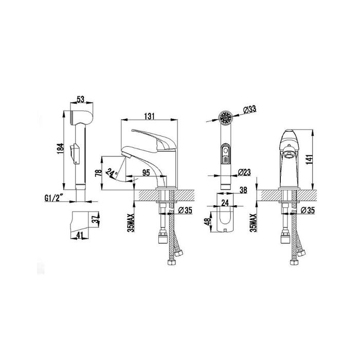 Смеситель для умывальника с гигиеническим душем, Davis, Milardo, DAVSB00M08